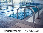 swimming pool with hand rails...