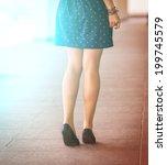beautiful  women's legs in... | Shutterstock . vector #199745579