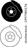 car brake discs icon on white... | Shutterstock .eps vector #1997484176