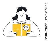 a cartoon woman is reading a... | Shutterstock .eps vector #1997546870