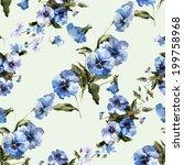 pansies  watercolor background | Shutterstock .eps vector #199758968