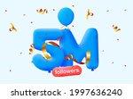 5m followers thank you 3d blue...   Shutterstock .eps vector #1997636240