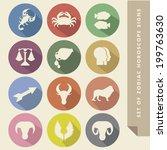 zodiac horoscope signs in flat...   Shutterstock .eps vector #199763630