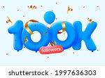 100k followers thank you 3d...   Shutterstock .eps vector #1997636303