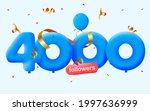4000 followers thank you 3d...   Shutterstock .eps vector #1997636999