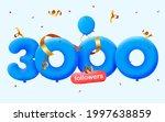 3000 followers thank you 3d...   Shutterstock .eps vector #1997638859