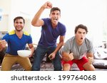 group of men sitting on sofa... | Shutterstock . vector #199764068