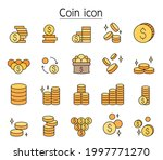 coin icon set fill color line...   Shutterstock .eps vector #1997771270