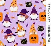 cute gnomes in halloween... | Shutterstock .eps vector #1997774816