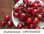 Fresh red cherries fruit on...