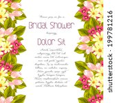 set of invitations with floral... | Shutterstock . vector #199781216