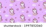 seamless unicorn fairy cartoon... | Shutterstock .eps vector #1997852060