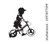little boy riding balance bike  ...   Shutterstock .eps vector #1997877599