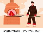 female chef baking a pizza.... | Shutterstock .eps vector #1997933450