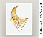 watercolor full moon yellow...   Shutterstock .eps vector #1997963600