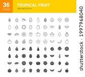 tropical fruit line web glyph... | Shutterstock .eps vector #1997968040
