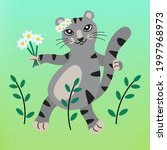 Cute Gray Cat With A Bouquet Of ...