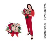 woman in red. vector drawing of ...   Shutterstock .eps vector #1998000596
