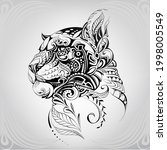 panther head in floral ornament | Shutterstock .eps vector #1998005549