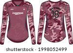 women long sleeve sports jersey ... | Shutterstock .eps vector #1998052499