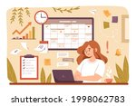 woman planning day  scheduling... | Shutterstock .eps vector #1998062783