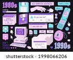 sticker pack of retro pc... | Shutterstock .eps vector #1998066206