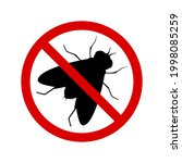no fly with ban sign. anti fly... | Shutterstock .eps vector #1998085259