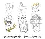 various antique statues....   Shutterstock .eps vector #1998099509