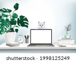 co working office interior with ...   Shutterstock .eps vector #1998125249