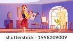 art school cartoon illustration.... | Shutterstock .eps vector #1998209009