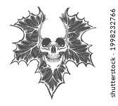 tattoo of skull on maple leaf... | Shutterstock .eps vector #1998232766