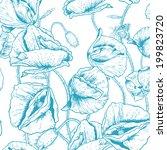monochrome seamless floral... | Shutterstock .eps vector #199823720