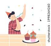 joyful preschool boy on kids... | Shutterstock .eps vector #1998264260