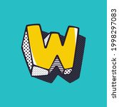 retro 3d letter w logo with... | Shutterstock .eps vector #1998297083