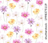 floral pattern with buds... | Shutterstock . vector #1998375119