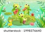 kids music festival on a lake...   Shutterstock .eps vector #1998376640