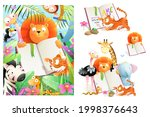 collection of kids zoo animals... | Shutterstock .eps vector #1998376643