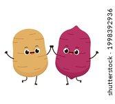 sweet potato and potato vector. ... | Shutterstock .eps vector #1998392936