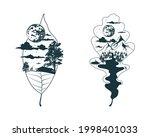 mystical elm and oak leaves set.... | Shutterstock .eps vector #1998401033
