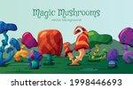 magic mushrooms background or...   Shutterstock .eps vector #1998446693