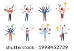 multitasking people. business... | Shutterstock .eps vector #1998452729
