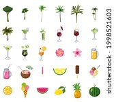 summer set elements ice cream ... | Shutterstock .eps vector #1998521603