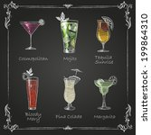 chalk drawings. cocktail menu | Shutterstock .eps vector #199864310