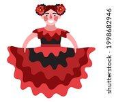 happy flamenco dancer girl in...   Shutterstock .eps vector #1998682946