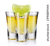 three gold tequila shots with... | Shutterstock . vector #199889444