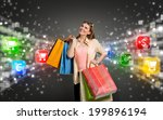 happy shopping woman surrounded ... | Shutterstock . vector #199896194