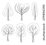 set of six hand   drawn trees...   Shutterstock .eps vector #199896590