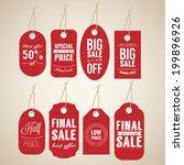 sale red labels set.  | Shutterstock .eps vector #199896926