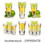 set of gold tequila shot with... | Shutterstock . vector #199900478