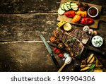 overhead view of colorful roast ... | Shutterstock . vector #199904306